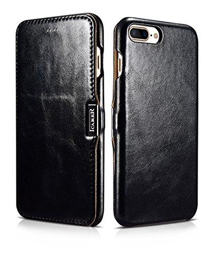 Luxus Tasche für Apple iPhone 7 Plus (5.5 Zoll) / Case mit Echt-Leder Außenseite / Schutz-Hülle seitlich aufklappbar / ultra-slim Cover / Etui mit Textil-Innenseite / Vintage Look / Farbe: Schwarz