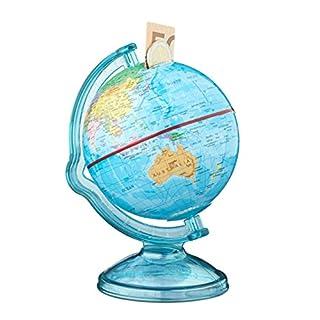 Relaxdays Spardose Globus HxBxT: 16,5 x 14 x 14 cm, politische Weltkarte, englische Beschriftung, Weltkugel, bunt