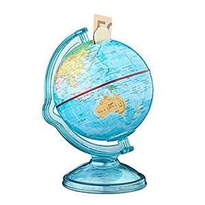 Relaxdays–Hucha Globus, 16,5x 14x 14cm (alto x ancho x profundo), mapa político del mundo, con texto en inglés – Bola del mundo, multicolor