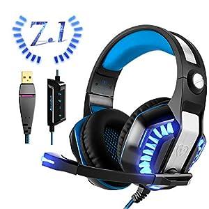 USB Gaming Headset für PC PS4, Beexcellent Virtual 7.1 Surround Sound Deep Bass LED Licht Professional Kopfhörer mit…