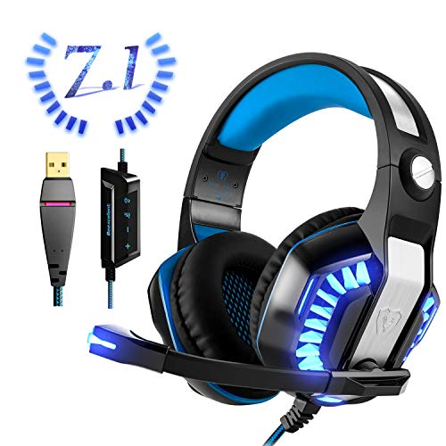 USB Gaming Headset für PC PS4, Beexcellent Virtual 7.1 Surround Sound Deep Bass LED Licht Professional Kopfhörer mit Mikrofon