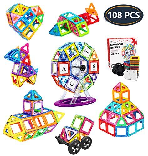 Jasonwell Bloques de Construcción Magnéticos para Niños 108 Piezas Bloques Magnéticos 3D Juguetes Construcción Magnéticos Imanes Regalos y Juego Magnéticos Creativo y Educativo de 3 4 5 6 7 8 Años