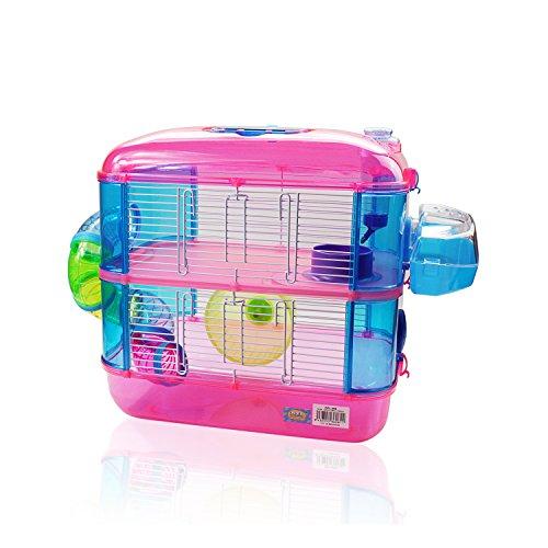 DI ZE LIN PET HOME S.L DZL® Jaula para hamster de plástico duro, caseta bebedero comedero rueda todo incluido (40*26*40 2 pisos, rosa)