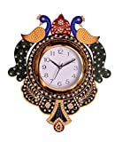 Wooden Peacock Emboss Painting Wall Clock (Multicolor)