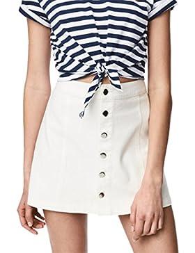 Alto Cintura Botones Abotonada Delantera Up Mini de Corte A-Line en línea Skater Plisado Skirt Falda Blanco
