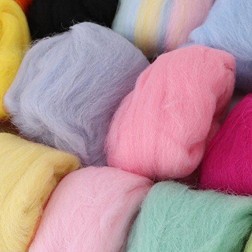 16 mehrfarige Filzwolle zum Trockenfilzen trocken filzen mit Filznadeln Filznadelhalter Starterset Basteln DIY