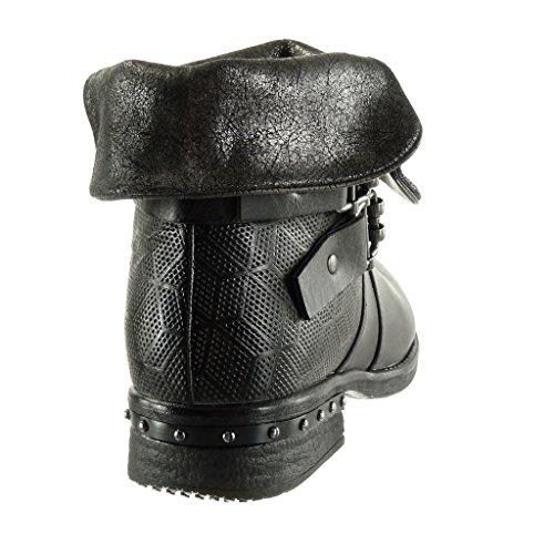 Angkorly Scarpe da Moda Stivaletti - Scarponcini biker cavalier classic donna intrecciato tanga borchiati Tacco a blocco 3 CM - soletta Foderato di Pelliccia Grigio