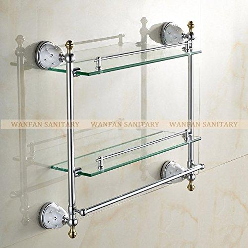 tougmoo accessori per il bagno in ottone massiccio finitura in oro con vetro temprato, doppio vetro Mensola bagno 5216