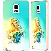 Ufficiale Shannon Maer Blue Corset Illustrazioni Oro Cover Contorno con Bumper in Alluminio per Samsung Galaxy Note 4