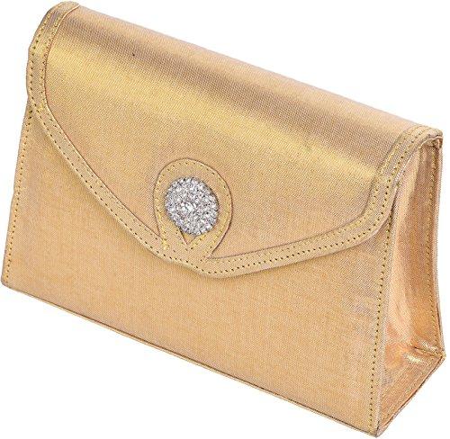 JODIE - Elegante Damen Envelope Clutch mit diamanten Effekt Gold