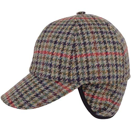 Snugrugs Herren 100% Wolle/Tweed Shooting Baseball Cap mit herunterklappbarem Ohrenklappen Gr. Medium, Grün (Green Check) -