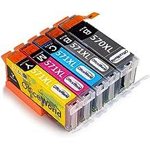 OfficeWorld Reemplazo para PGI-570XL CLI-571XL Cartuchos de tinta (1PGBK, 1BK, 1C, 1M, 1Y) para PIXMA MG5750 MG5751 MG5752 MG5753 MG6850 MG6851 MG6852 MG6853 TS5050 TS5051 TS5053 TS5055 TS6050 TS6051 TS6052