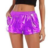 ❤️Hosen Damen ABsoar Yoga Shorts Sport Hosen Glänzende Metallische Hosen Kurz Leggings Laufende Sporthose Strumpfhose Sportlichen Hose