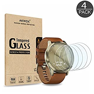 AKWOX [4-pack] Tempered Glass Screen Protector for Garmin Vivomove HR, [0.3mm 2.5D High Definition 9H] Premium Clear Screen Protector for Garmin Vivomove HR
