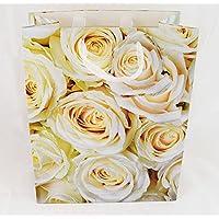 Regalo di nozze borsa Medium Bianco Peach Rose Glitter–Borsa regalo portafoto M