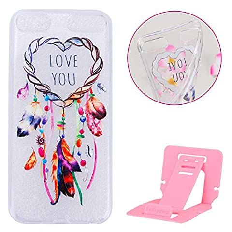 Coque ipod Touch 6 Flexible Souple Case,ipod Touch 5 Housse Étui Transparente,Ekakashop Ultra Mince Coque de Protection en Soft TPU Silicone avec Motif Amour Campanula Protecteur Back Flexible Gel Case Cover Defender Bumper pour Apple ipod Touch 5 / Touch 6 + 1x cartes gratuites se tiennent (couleur