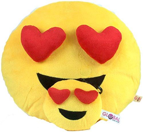 Emoji-Kissen mit kostenlosem Schlüsselanhänger und weicher Geldbörse, rundes Emoticon-Plüsch-Kissen in gelb mit Herz-Augen, Geschenk-Set, lustiges Spielzeug 3D Heart (Guess-designer-kleidung)