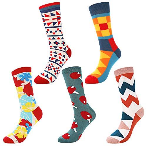 Emooqi Damen Socken Männer Socken, 5 Paar Bunt Gemusterte Socken Damen & Herren Baumwollsocken Modisch Unisex kunst Socken Lässige Baumwolle Socken