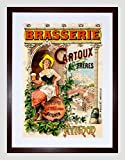 AD BRASSERIE CARTOUX BROTHERS AVIGNON FRANCE GIRL BARREL FRAMED PRINT B12X5518