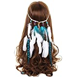 AWAYTR Stammes-Feder Boho Stirnband Perlen Niedlich maskerade Schick Kleid Kopfstücke Hippie Haar-Zusätze