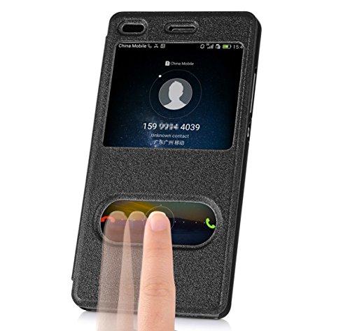 Huawei P8 Lite, Fyy® Hochwertige Kunstleder Schutzhülle mit Fenster für Huawei P8 Lite Grau