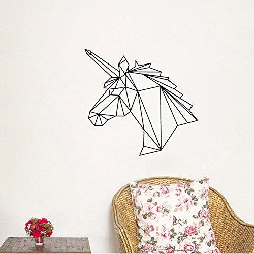 Einhorn Wandtattoo schwarz - Geometrie Design Abstrakt Einhorn Kopf - Wand Art inspiriert Tier Wandbild für Wohnzimmer Home Decor