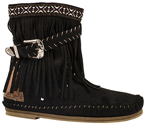 Elara Fransen Stiefeletten | Damen Indianer Style | Western Schnalle Hidden Wedge Schwarz
