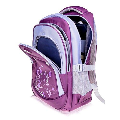 Leefrei Schulrucksack Schulranzen Schultasche Sports Rucksack Freizeitrucksack Daypacks Backpack für Mädchen Jungen & Kinder Damen Herren Jugendliche mit der Großen Kapazität (Lila-Blume) - 3