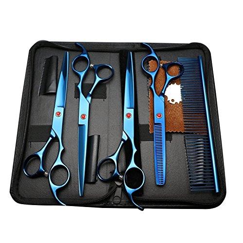 Lampop Set di Forbici per Cane Pelo 4×Forbici per Cani in Acciaio Inox 1×Pettine Professionale Perfetto per Animali Domestici con Colore Blu