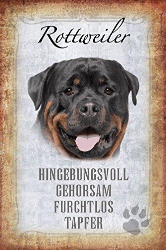 ComCard Hunde steckbrief: Rottweiler - hingebungsvoll, gehorsam, furchtlos, tapfer schild aus blech, metal sign, tin