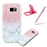 For Samsung Galaxy S7 [Slim Fit] Clear Rubber Case,For Samsung Galaxy S7 Ultra Thin Transparent Soft TPU Gel Back Case Cover,Herzzer Laconic [Colorful Printed] Soft Silicone Cover Visible Phone Skin Smooth Slim Shell Flexible Light Case Cover Scratch Resist Protection Protective TPU Bumper Jelly Cas