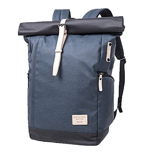 muzor wasserabweisend beschichteter Canvas Leichte 39,6 cm Notebook Rucksack mit externe USB Chage Port Business Travel Rucksack blau navy