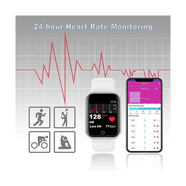 Reloj Inteligente, 1.4 Inch Smartwatch with Monitoreo de presión Arterial, Pulsómetro Impermeable IP68 Pulsera Actividad con Inteligente de Podómetro y Monitoreo del Sueño para Android y iOS 5