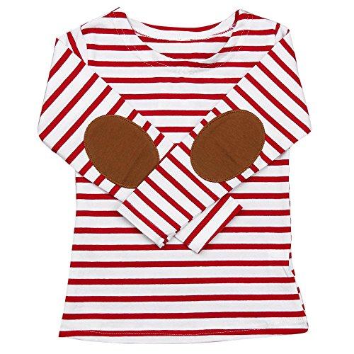 XXYsm Baby Tops Mädchen Jungen T-Shirt Blusen Langarm Shirts Gestreift Streifen Oberteile Winter Rot 4-5 Jahre