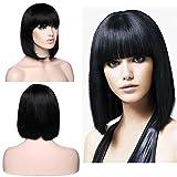 Parrucca Bob da Donna Capelli Umani Veri Lunghi Lisci - Remy Human Hair Wig Straight 130g - 12' 30cm Nero Naturale (Senza Pizzo)
