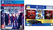 PS4 1TB Slim Bundled with Spider-Man, GTaSport, Ratchet & Clank And PSN 3Month&Watch Dogs: Legion Resi