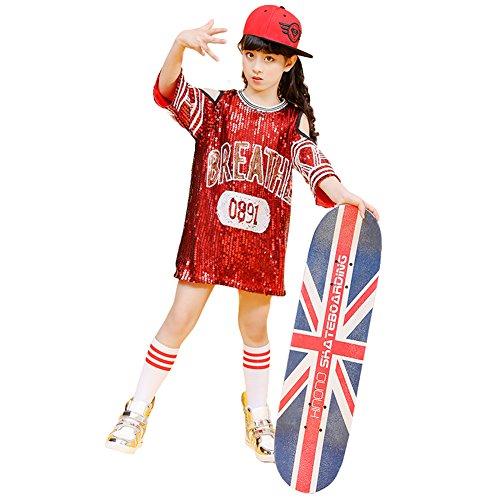 Tänzer Pop Kostüm - LOLANTA Mädchen Modern Pailletten Jazz Dance Kleid Sparkle Tunika Rock Hip Hop Dancewear (128/134)