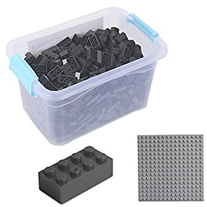 Katara Juego De 520 Ladrillos Creativos En Caja Con Placa De Construcción 100% Compatibles Con Lego Classic, Sluban, Papimax, Q-bricks, Gris Oscuro (1827)