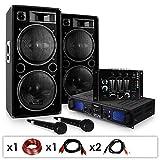 """Set DJ """"DJ-20.1"""" Amplificatore finale di potenza, Coppia di casse, mixer, microfono, karaoke (2000 Watt max, 3 linee AUX, USB ed SD, Radio FM)"""