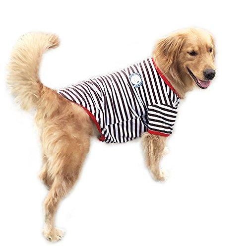 Haustier T-shirt Systond Mode Frühling Hund Kleidung mit klassischen Streifen Print Kleidung Doggy Kleidung Baumwolle T-Shirts Hunde Kostüme für große mittlere Hunde