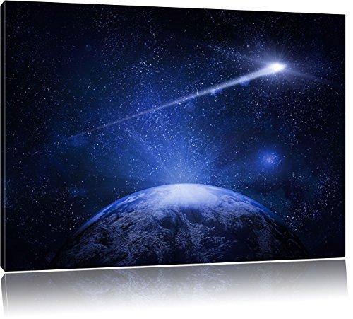 Sternschnuppe fliegt über den Planeten Erde, Format: 80x60 auf Leinwand, XXL riesige Bilder fertig gerahmt mit Keilrahmen, Kunstdruck auf Wandbild...