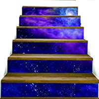 ZXFMT@ 3D Creative Purple Sky Steps Stairway Stairs Stickers Self Adhesive Removable Diy Purple Stars Home Decoraction Dream Purple Stairs Stickers