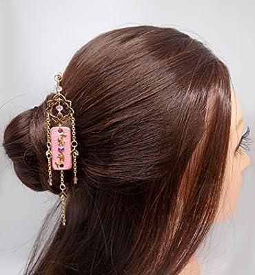 Pic à cheveux doré pendentif rectangle cuir rose feuilles dorées et strass swarovski light siam shimmer avec connecteur oriental