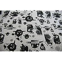 Los niños tela de la mejor calidad de jersey gris con negro monstruos–compra por el metro/a partir de 25cm