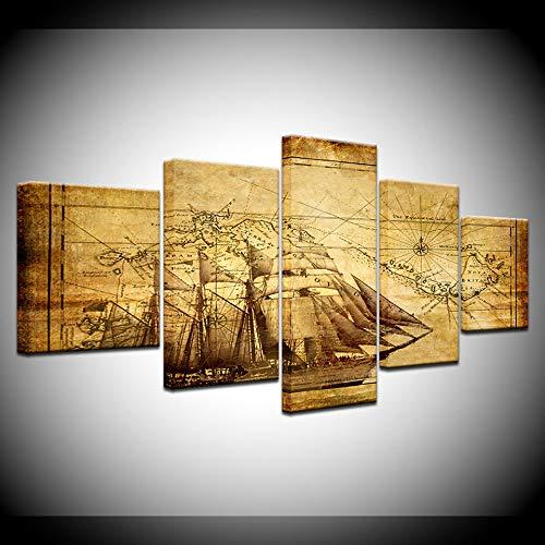 YCWYF 5 Panel/Piece HD Print Das Boot Karte mit segeln Wand Poster Leinwand Kunst Malerei Für zu Hause Wohnzimmer Dekoration Size3 Rahmen