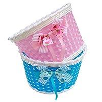 nalmatoionme hecho a mano flores plástico tejido cestas para niños bicicletas (azul)
