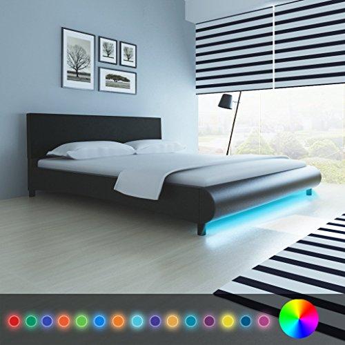 Anself Polsterbett Doppelbett Bett Ehebett aus Kunstleder mit LED-Streifen 180x200cm ohne Matratze Schwarz