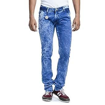 SAVON Mens Slim Fit Jeans (SH501101-01-28_Blue_28)