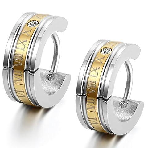 Flongo Edelstahl Ohrstecker Reifen Huggie Ohrringe Silber Gold Römischen Ziffern