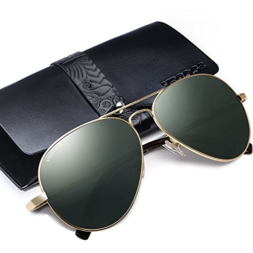 VEGOOS Pilotenbrille Herren Sonnenbrille Polarisiert UV Schutz Aviator Sonnenbrille Fliegerbrille...